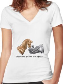 Chess Play Game Women's Fitted V-Neck T-Shirt