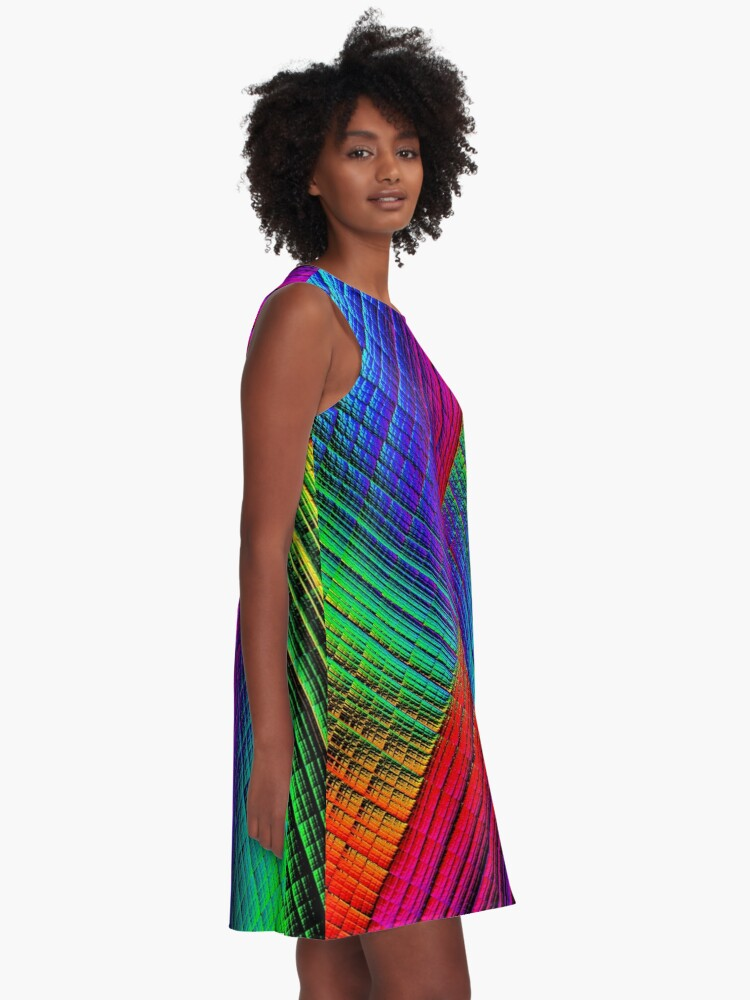 Alternate view of Textured Rainbow A-Line Dress