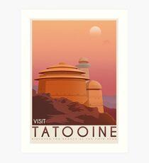 Tatooine poster. Tatooine retro travel. Starwars planet illustration. Sci fi vintage print. Luke skywalker. Landspeeder. Two mons landscape. Return of the jedi. Art Print