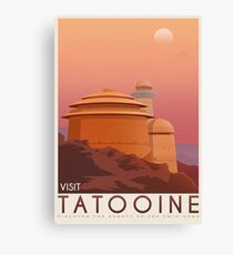 Tatooine poster. Tatooine retro travel. Starwars planet illustration. Sci fi vintage print. Luke skywalker. Landspeeder. Two mons landscape. Return of the jedi. Canvas Print