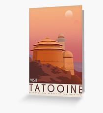 Tatooine poster. Tatooine retro travel. Starwars planet illustration. Sci fi vintage print. Luke skywalker. Landspeeder. Two mons landscape. Return of the jedi. Greeting Card