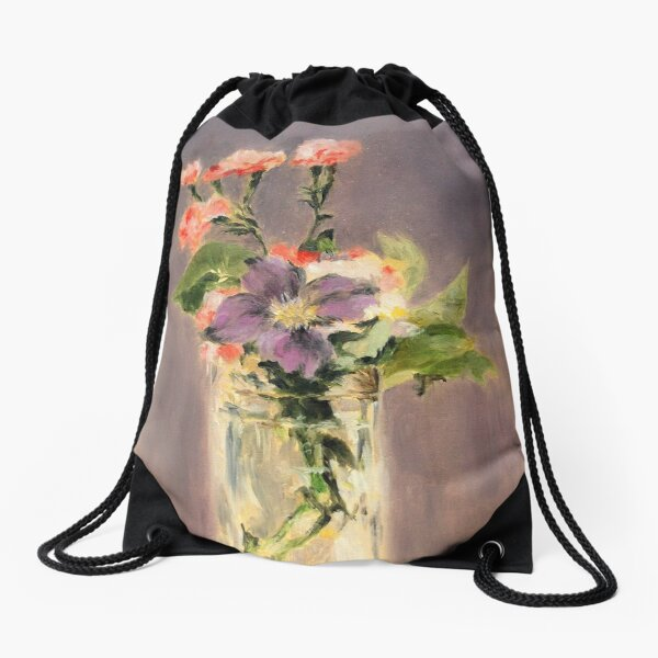 Pinks and clematis in a crystal vase Drawstring Bag