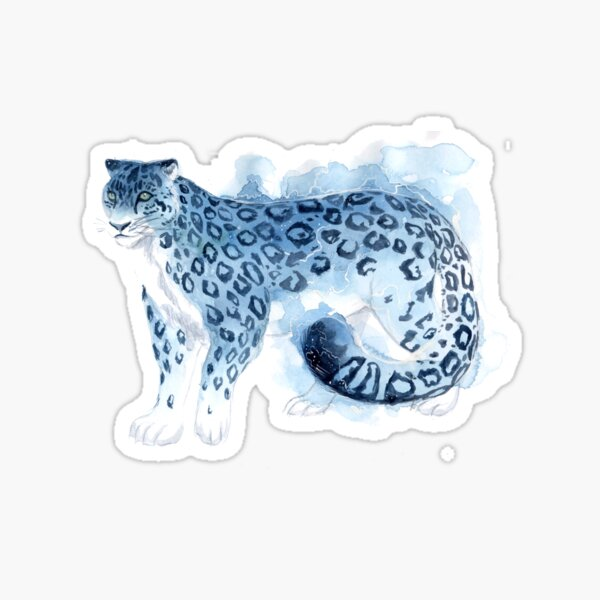 Watercolor Snow Leopard Sticker