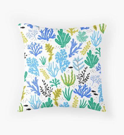 Marine life, seaweed illustration Throw Pillow
