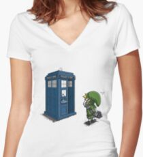The Legend of Zelda & Doctor Who - Link (Tardis) Women's Fitted V-Neck T-Shirt