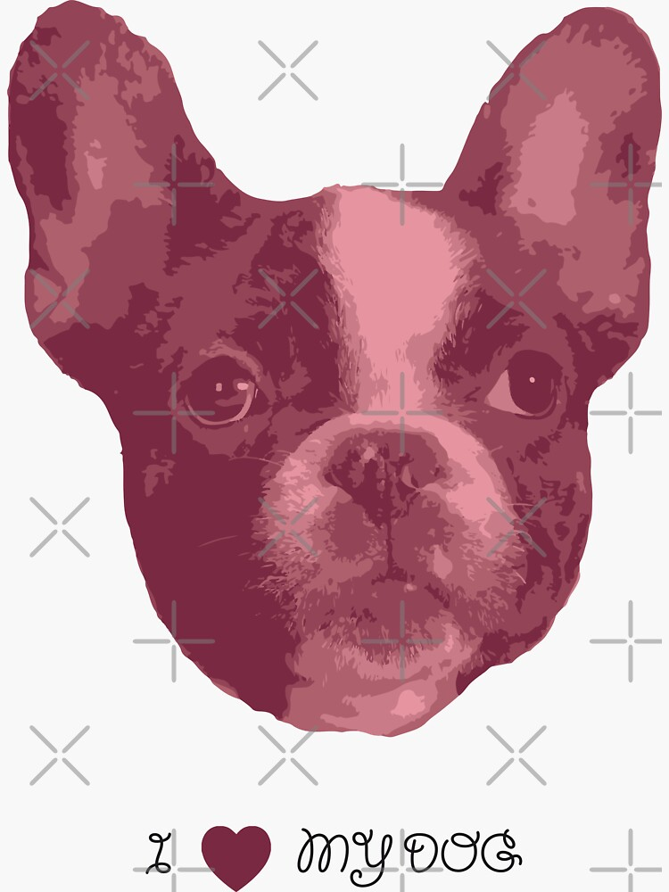 I love my dog - French Bulldog (Pink) by PrintablesP