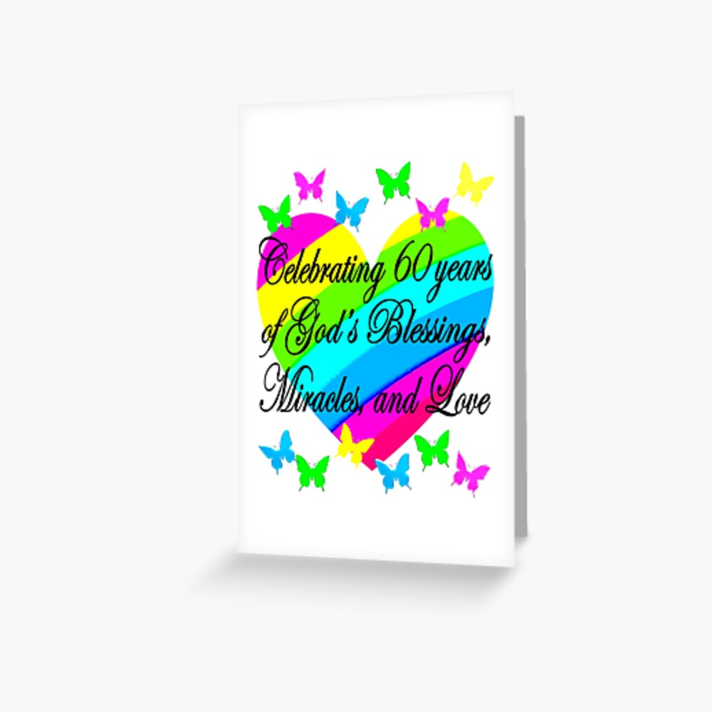 PRETTY HEART 60TH BIRTHDAY DESIGN Greeting Card