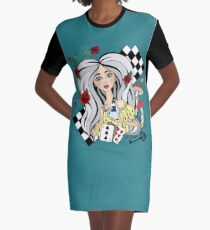 alice with a White rabbit Graphic T-Shirt Dress