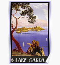 Vintage 1920s Lake Garda Italian travel advert Poster