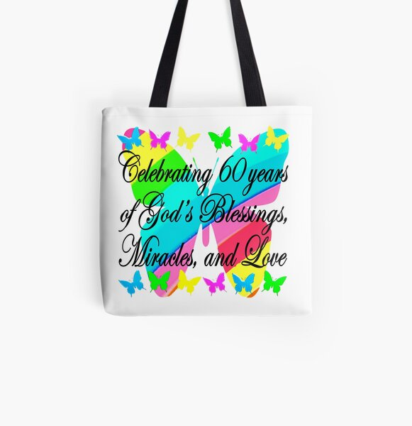 PRETTY 60TH BIRTHDAY BUTTERFLY DESIGN All Over Print Tote Bag