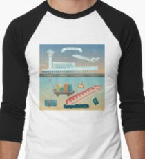 Time to Travel by Airplane. Airport with Plane and Different Travel Elements Men's Baseball ¾ T-Shirt