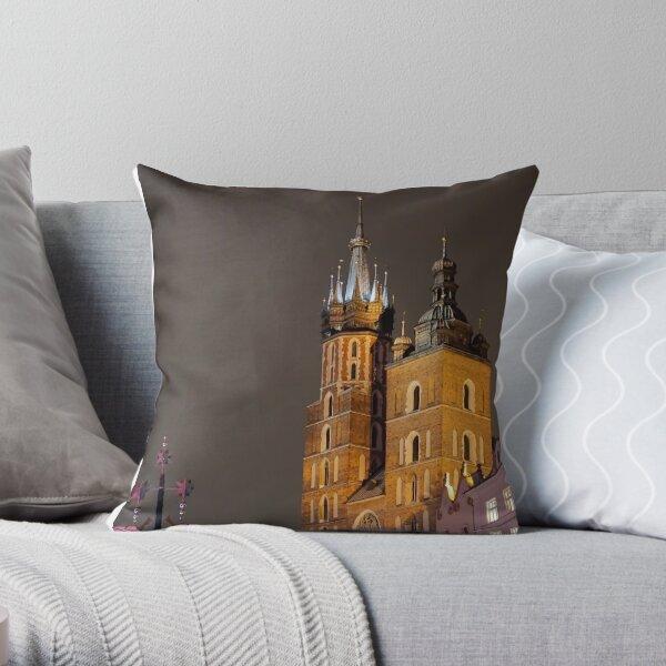 St. Mary's Basilica on Christmas Eve - Krakow, Poland Throw Pillow