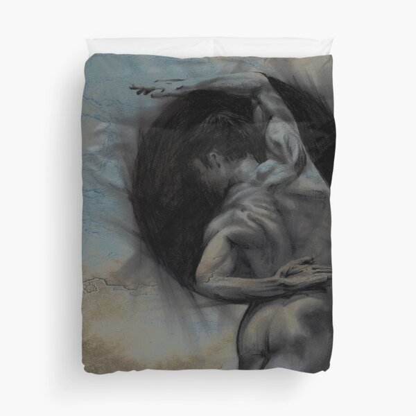 HARMONY - conté drawing with overlay Duvet Cover