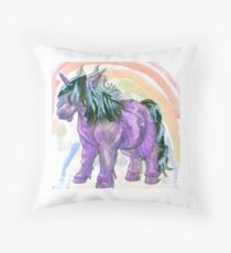 my little shetland pony and rainbow Throw Pillow
