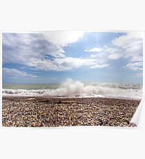Crashing waves at Cuckmere Haven Poster