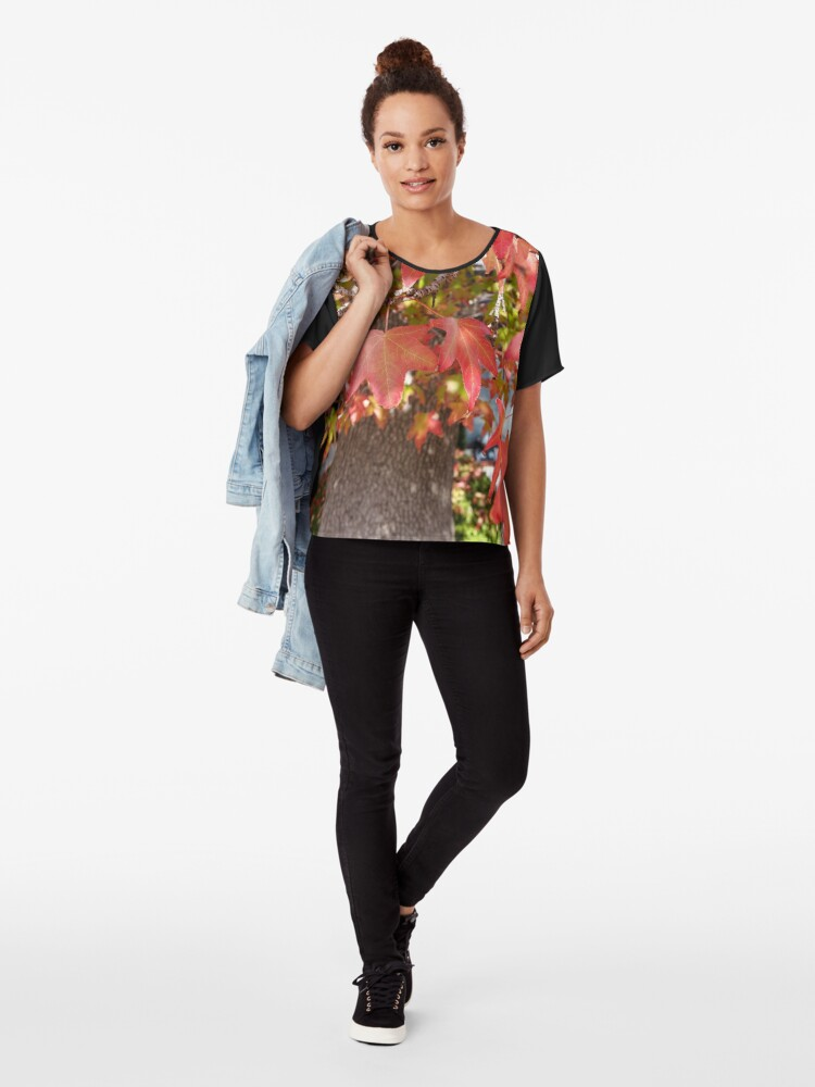 Alternate view of Red Leaves in Autumn Chiffon Top