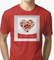 Happy Valentine's Day Greeting Card with Heart of Flowers Tri-blend T-Shirt