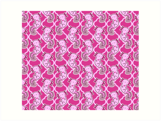 Axolotl Pink Quatrefoil Pattern Art Prints By SaradaBoru
