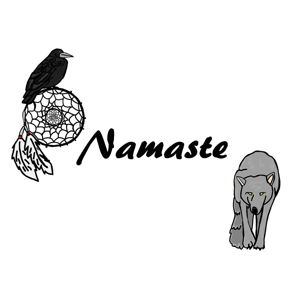 Namaste Wolf, Raven and Dream catcher by imphavok