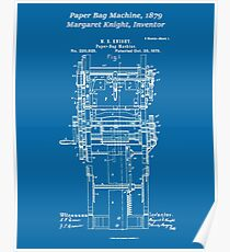 Margaret Knight, Inventor of the Paper Bag Machine - blueprint Poster