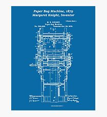 Margaret Knight, Inventor of the Paper Bag Machine - blueprint Photographic Print