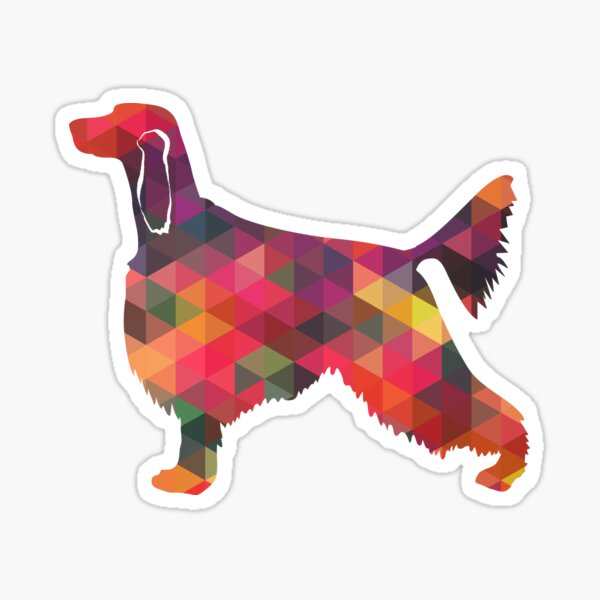 Irish Setter Dog Breed Geometric Pattern Silhouette - Multi Sticker