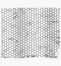 Honeycomb Black and White Poster