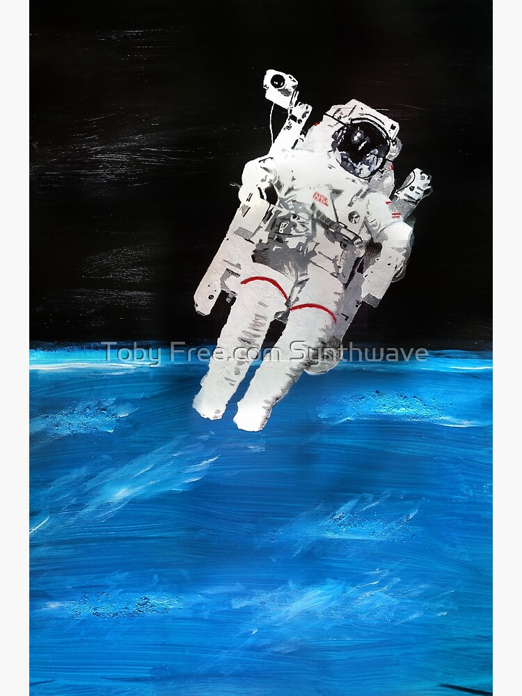 Astronaut Spacewalk with Blue Earth (Acrylic Painting) by TobyFreeCom