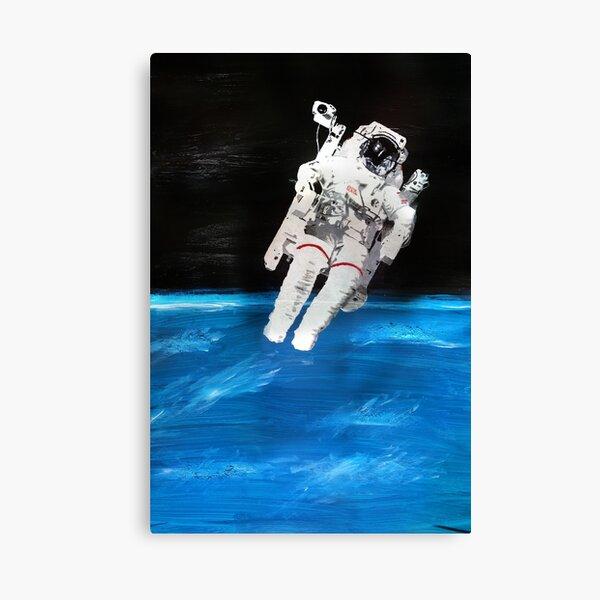 Astronaut Spacewalk with Blue Earth (Acrylic Painting) Leinwanddruck