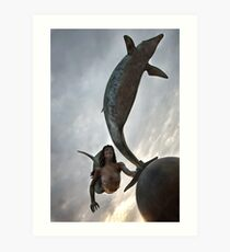 Dance of the mermaid and the dolphin Art Print