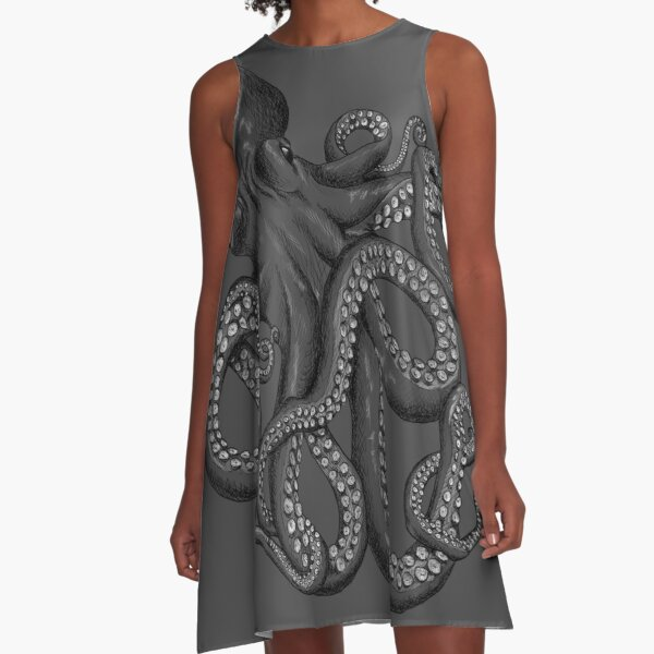 Realistic Octopus - Two Tone A-Line Dress