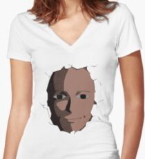 Saitama Face Expression (One Punch Man Anime) Women's Fitted V-Neck T-Shirt