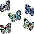 Cute Patterned, Flying Butterflies Pack of 5 by MintGreenBubble