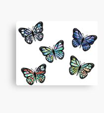 Cute Patterned, Flying Butterflies Pack of 5 Canvas Print