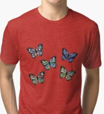 Cute Patterned, Flying Butterflies Pack of 5 Tri-blend T-Shirt