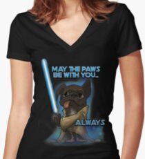 May the Paws be with you Women's Fitted V-Neck T-Shirt