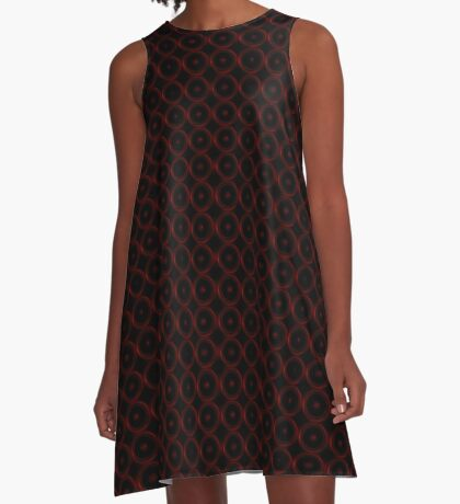Black with Red Circles A-Line Dress