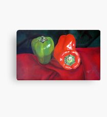 Green and Red Peppers Canvas Print