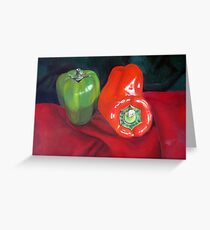 Green and Red Peppers Greeting Card
