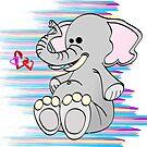 Cartoon Stuffed Elephant by Graphxpro