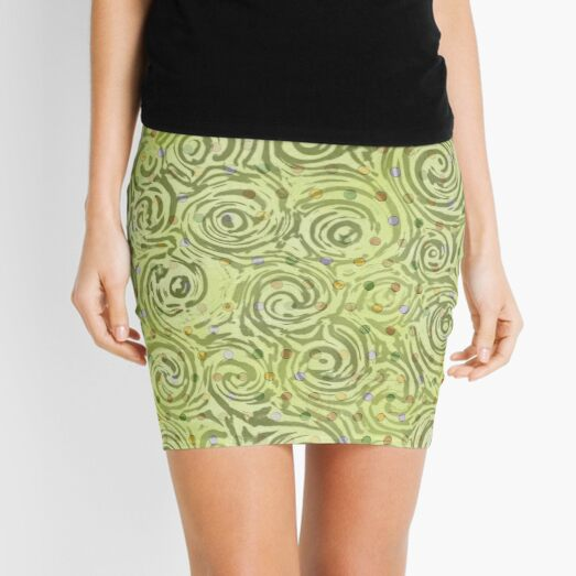 Green Swirl Mini Skirt