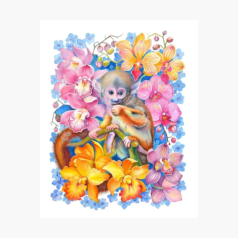 Año del mono - Acuarela del zodiaco chino Lámina fotográfica