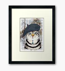 Lámina enmarcada Encantador gato francés en París. Perfecto para los amantes de los gatos.