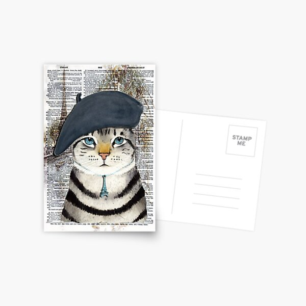 Charming French Cat in Paris. Perfect for cat lovers. Postcard