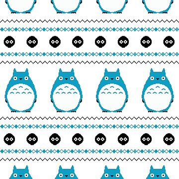 Totoro Winter Pattern - Blue by ChloeMorris