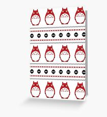 Totoro Winter Pattern - Red Greeting Card