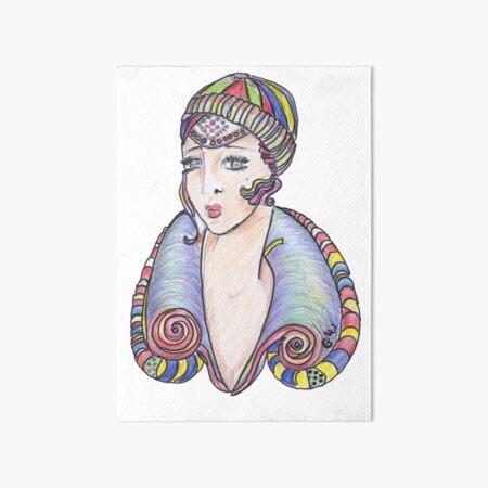 Lola Art Deco Lady Art Board Print