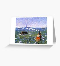 William James Glackens (American, 1870–1938) Breezy Day, Tugboats, New York Harbor Greeting Card
