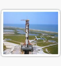 An aerial view of the Apollo 15 spacecraft on its launch pad. Sticker