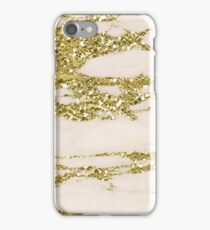 Marble - Gold Marble Glittery Light Pink and Yellow Gold iPhone Case/Skin